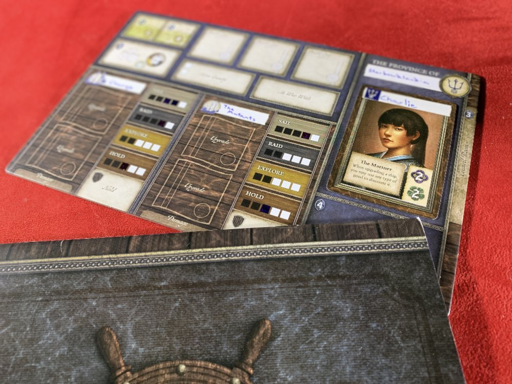 My player board…along with the dreaded Random Victory Point Generator (also known as the Captain's Booke)