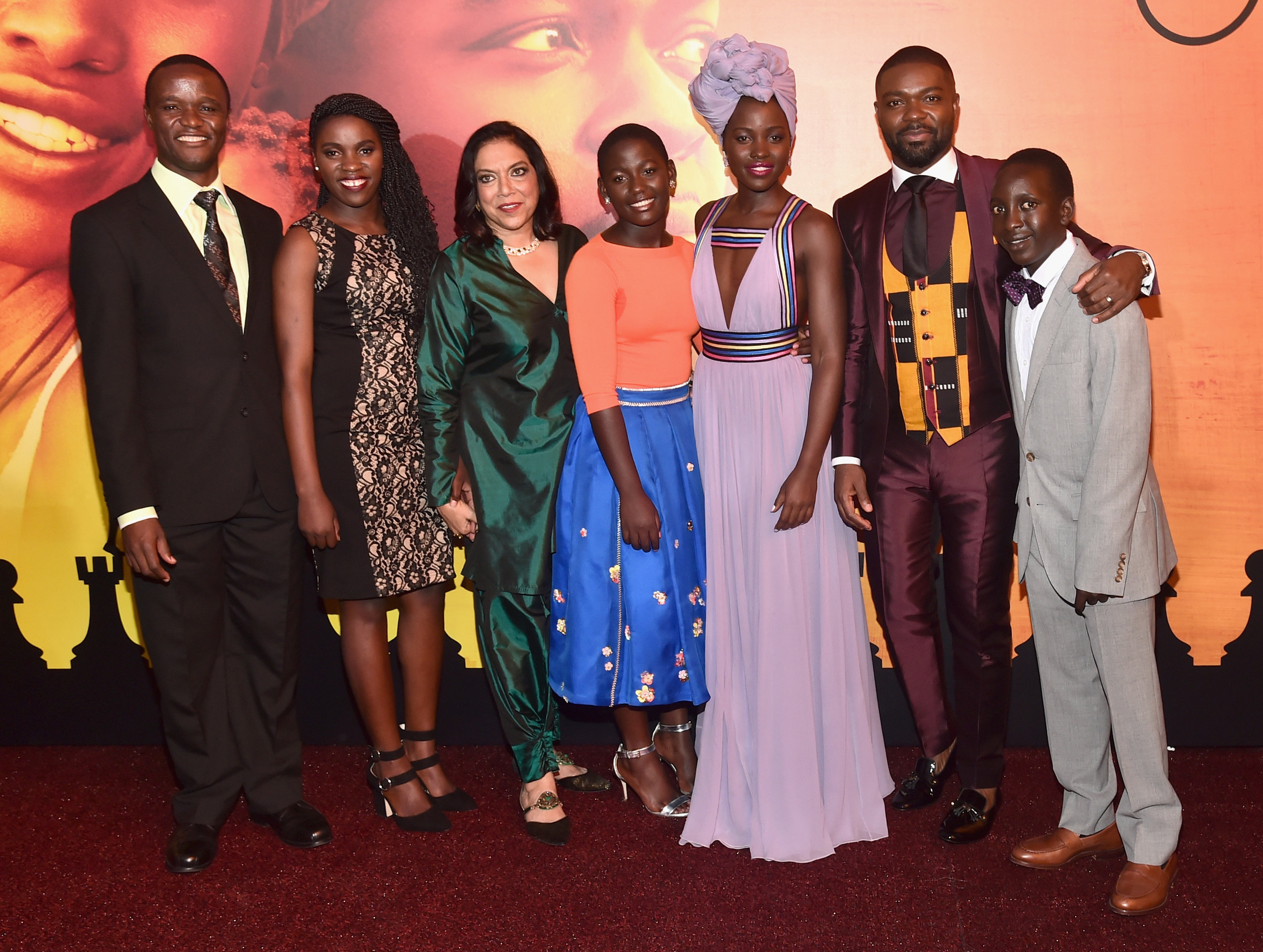 (Photo by Alberto E. Rodriguez/Getty Images for Disney) *** Local Caption *** Robert Katende; Phiona Mutesi; Mira Nair; Madina Nalwanga; Lupita Nyong'o; David Oyelowo; Martin Kabanza