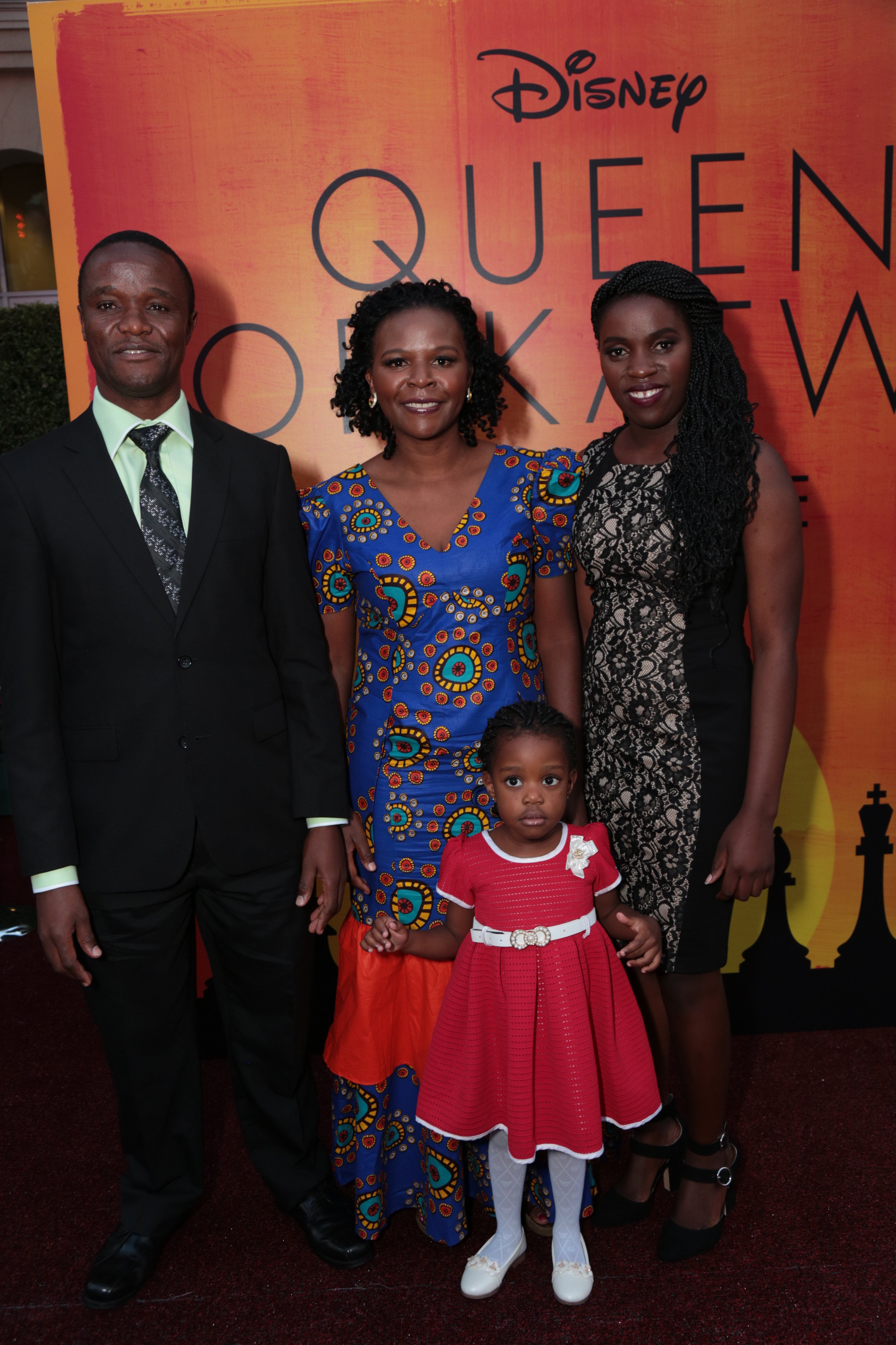 Robert Katende, Sara Katende, Phiona Mutesi and Hope Katende arrive at the U.S. premiere of Disney's Queen of Katwe at the El Capitan Theatre in Hollywood, CA on Tuesday, September 20, 2016. (Photo: Alex J. Berliner/ABImages)