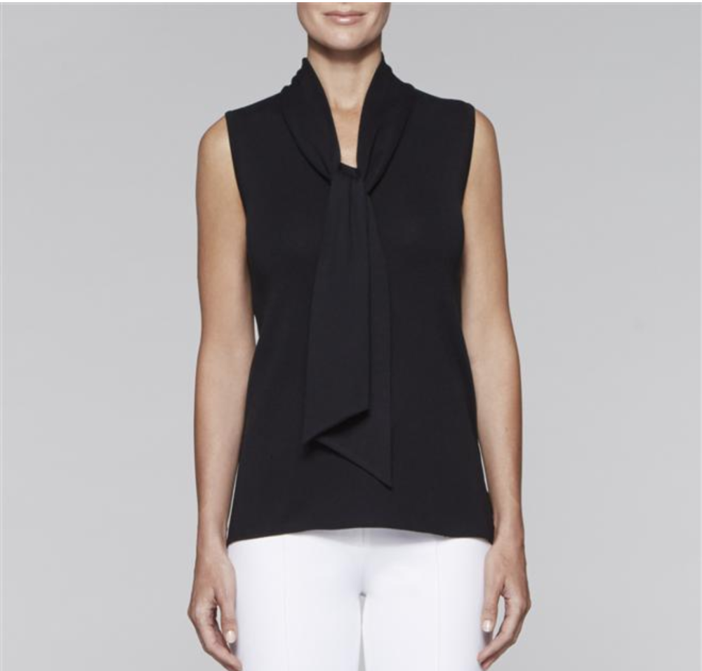 "<a href=""http://www.misook.com/item/k3098b/201/tank-with-tie-neck?utm_source=gcfam&utm_medium=TK&utm_campaign=MSK7591"" rel=""nofollow"">Black Tank with Neck Tie</a>"