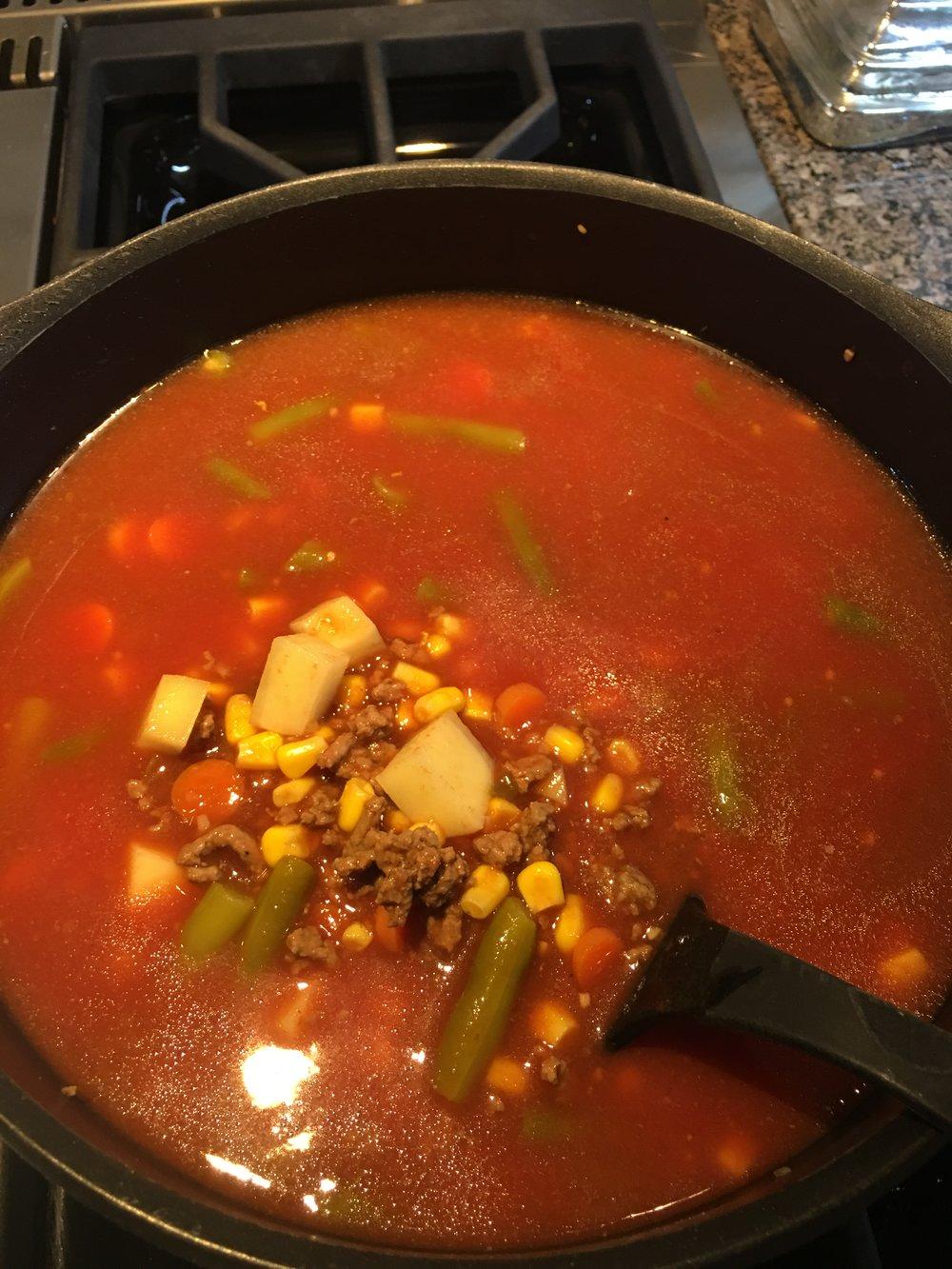 Vegetable Beef Soup Recipe via LadyandRed.com
