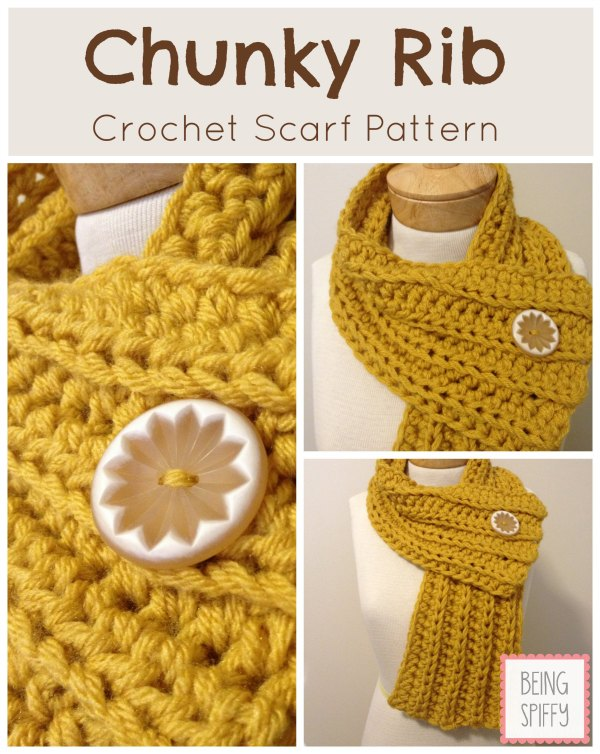 Stitches Be Cray Chunky Rib Scarf Crochet Pattern
