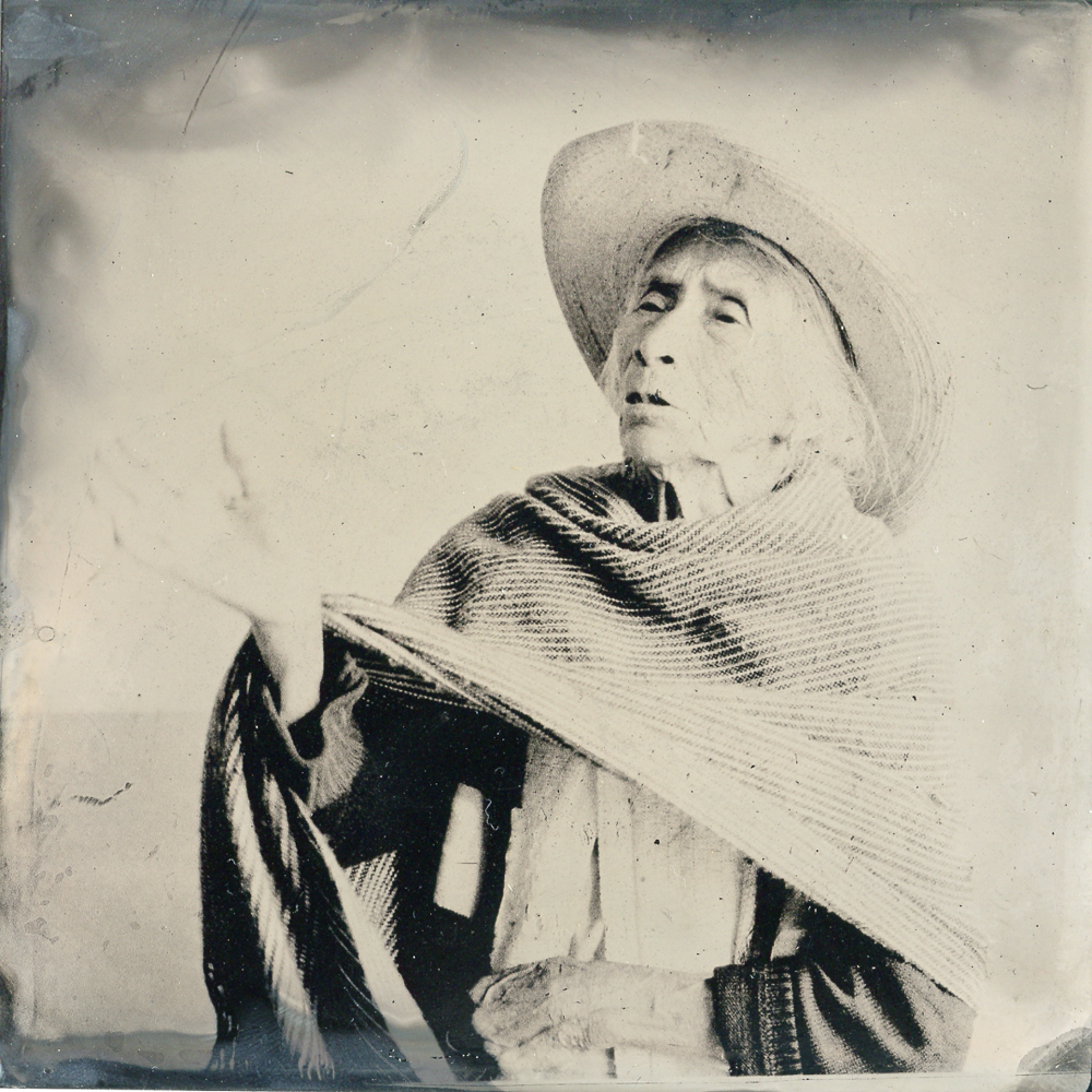 Wet plate collodiun printed on tin from a digital negative