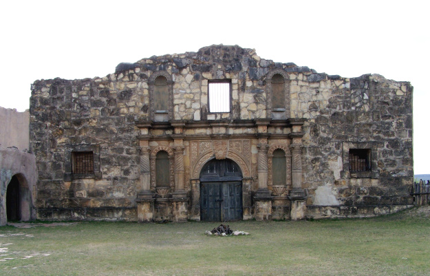 This 3/4 replica of the Alamo was constructed near Brackettville, Texas (west of San Antonio) for the filming of the John Wayne movie. A tourist attraction known as Alamo Village, it has since been used in over 100 other films.