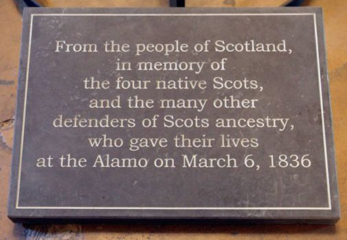 This plaque was placed at the Alamo in 2010. Over half of the mission's defenders are believed to have Scot heritage. Photo credit: San Antonio Express News