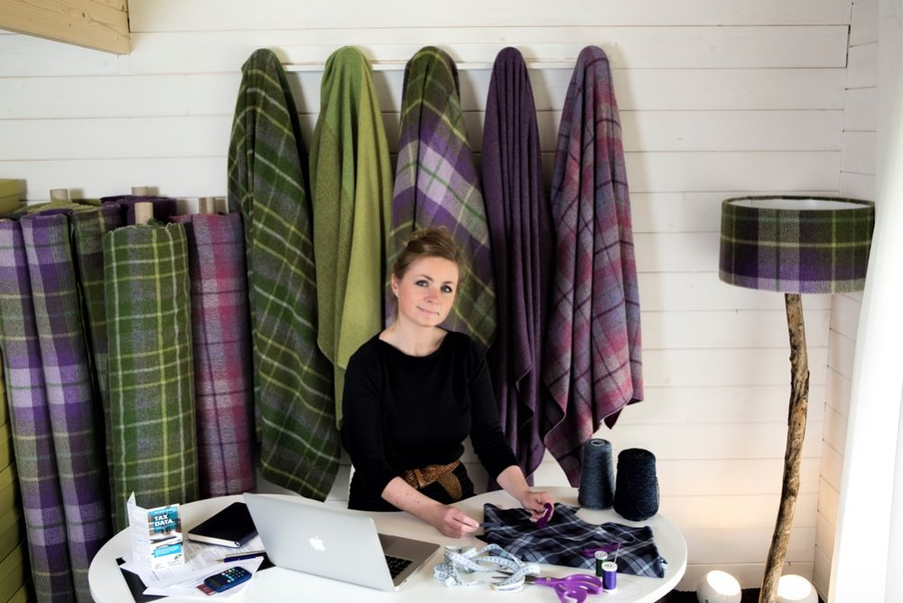 Clare Campbell, bespoke tartan designer at Prickly Thistle, Scottish Highlands.