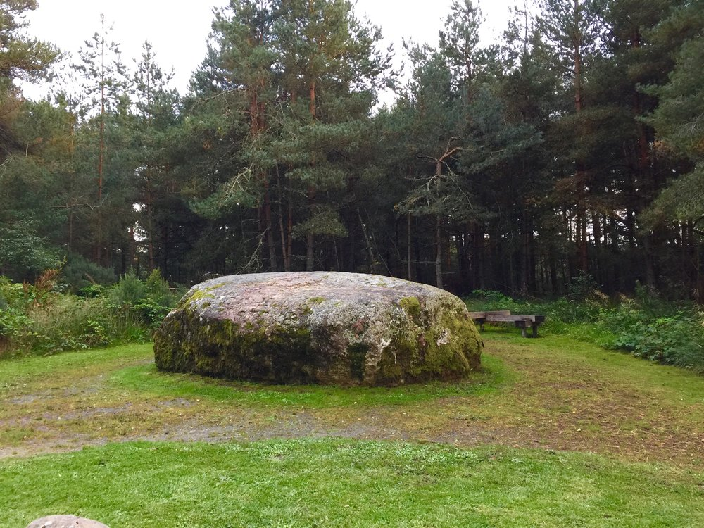 The Cumberland Stone --- it was from here that the Duke of Cumberland allegedly observed the battle. Note its location on the Google Maps view of the battlefield above. Photo by author