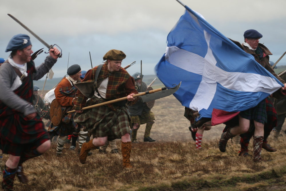 Reenactment of the historical Highlander charge at Culloden