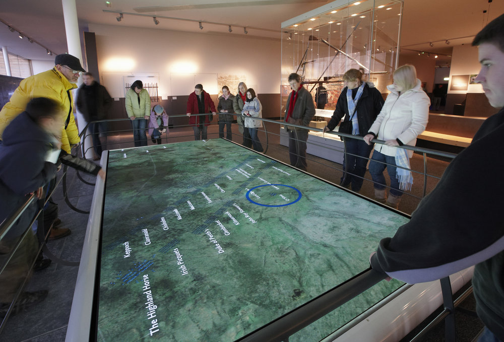 This interactive electronic display takes the map of the battle lines at Culloden like the one above and places the troops in motion so visitors can see and follow the battle as it progressed. Photo courtesy National Trust for Scotland, Culloden
