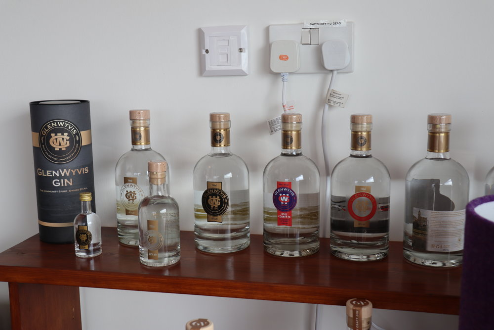 A sampling of the original GlenWyvis gins including the old branding.