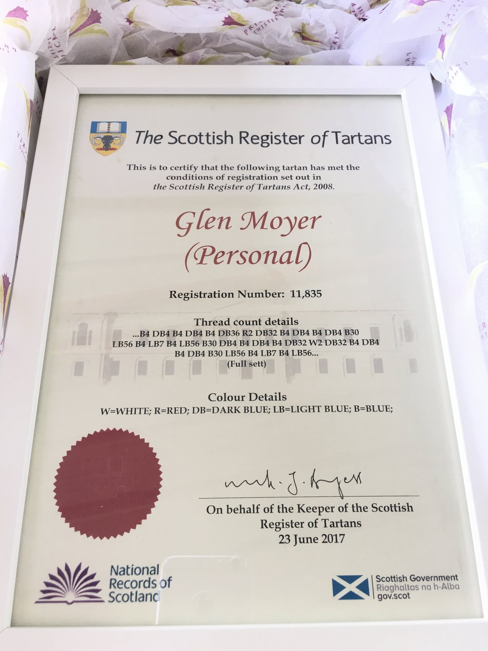 An incredibly proud day when this certificate arrived - my story was now a part of Scottish history!