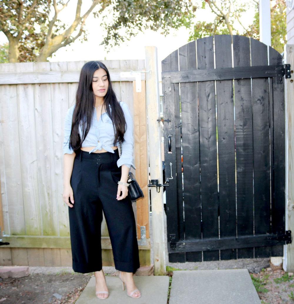 Denim shirt - H&M, Wide-Legged Pants - Pink Tartan