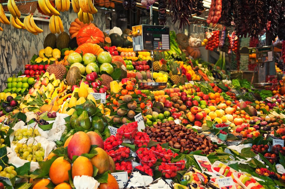 Colourful fruit and vegetable market stall in Boqueria market in Barcelona.jpg