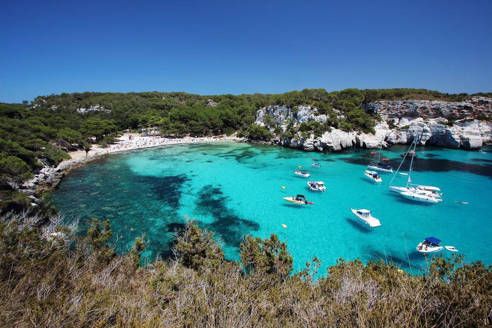 Main view of Macarella beach, one of the most beautiful spots in Menorca, Balearic Islands, Spain..jpg