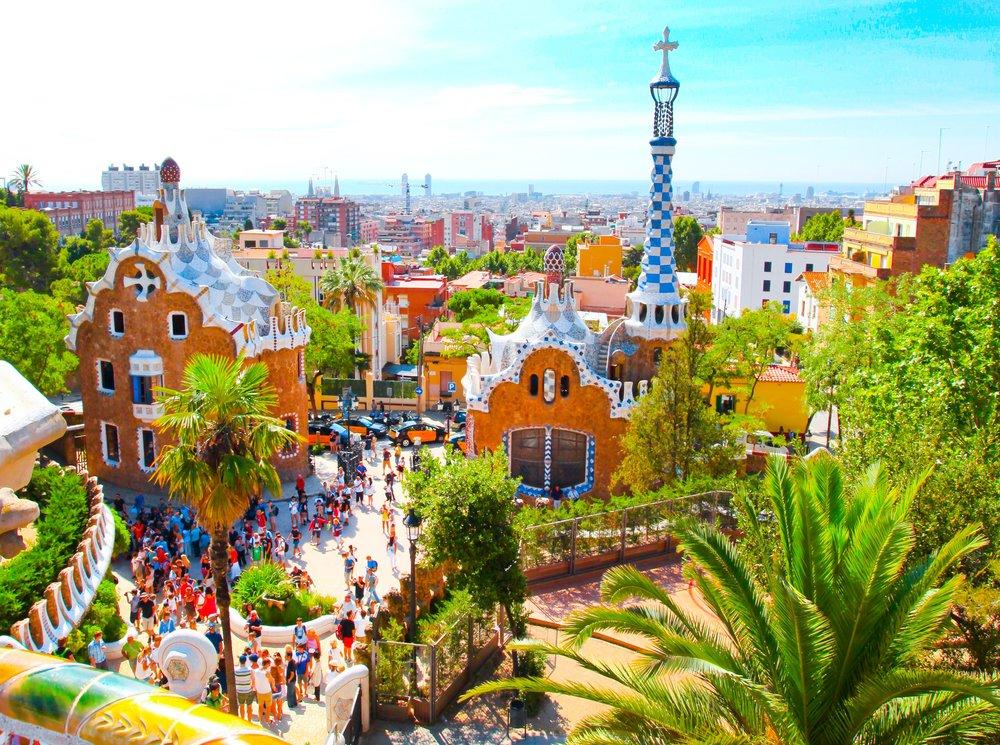 Spain  Park Guell over bright blue sky in Barcelona, Spain.jpg