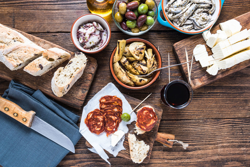 Traditional tapas served for share with friends in restaurant or bar..jpg