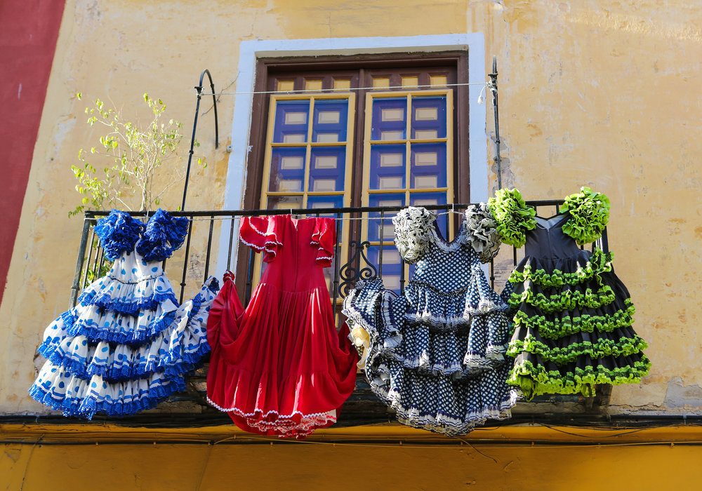 Traditional flamenco dresses at a house in Malaga, Andalusia, Spain.jpg