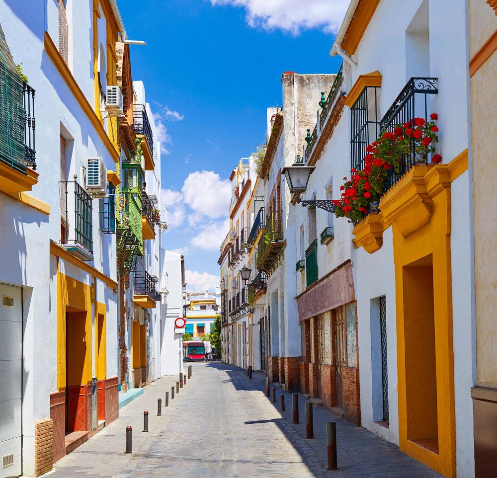 Triana barrio facades in Seville Andalusia Spain Sevilla.jpg