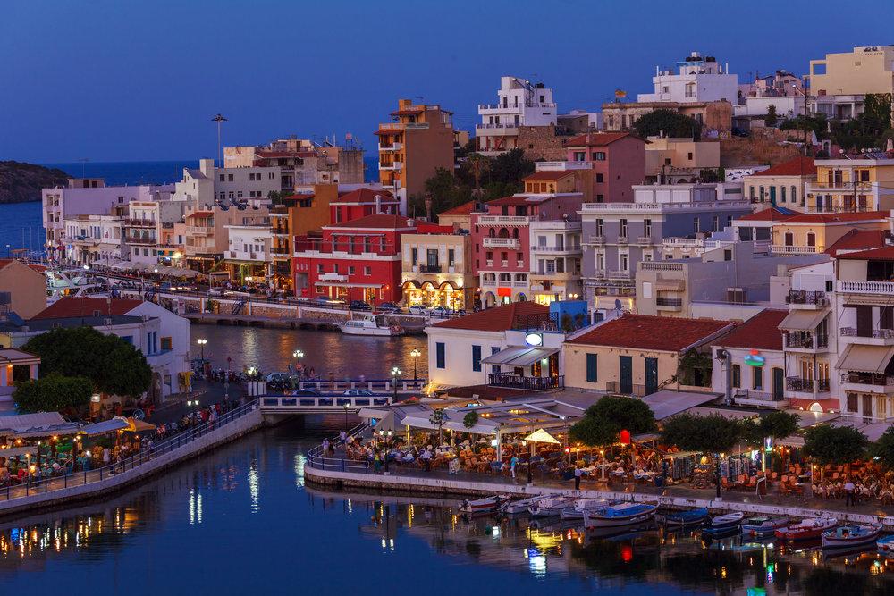Agios Nikolaos City and Voulismeni Lake at Night Crete, Greece.jpg