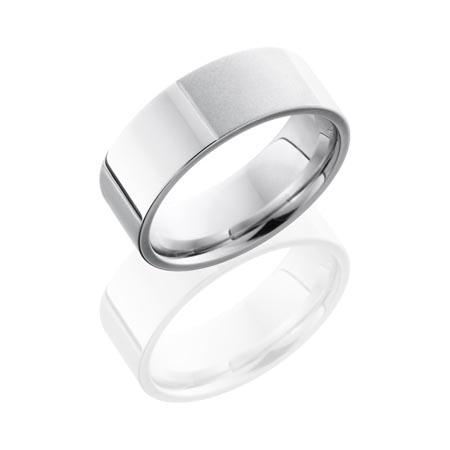 Bead Blast And Polished Scored Cobalt Chrome Wedding Ring Unique