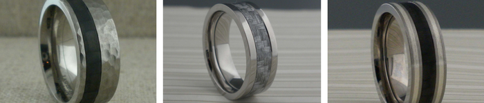 Carbon Fiber Wedding Rings:     The Story  : Lashbrook Carbon Fiber rings utilize structural, solid Carbon Fiber and are made entirely in the USA. Lashbrook's carbon fiber is produced by one of their partner manufacturers whose products can be found in high-tech applications varying from Formula 1 racing and aerospace engineering to competitive cycling.  Carbon Fiber has one of the highest strength-to-weight of any product every created. The raw material used to make Carbon Fiber is a mix of compounds, mostly consisting of carbon ring organic polymers. This material is drawn into long strands, or fibers, and then heated in a controlled environment. The heat causes the atoms in the fibers to vibrate violently until most of the non-carbon atoms are expelled. The material left after the heating process is composed of thin, tightly wound carbon strands which are then processed through stabilization, spinning and weaving. The final product uses resin to bind the composite.     General Information  : Lashbrook's Carbon Fiber is prduced in thin tubes which are then cut into narrow slices and mounted in the rings. This process allows for the entire Carbon Fiber inlay to be set into the piece without cutting or modifying the structure of the carbon Fiber. This method of inlaying real pieces of Carbon Fiber sets Lashbrook apart in the industry.   Carbon Fiber rings are lightweight, strong and durable, making special care unnecessary. They can be cleaned by steam, ultrasonic, or jewelry cleaner. The rings can be factory refurbished at any time. Like any ring, they will show normal wear and tear overtime.