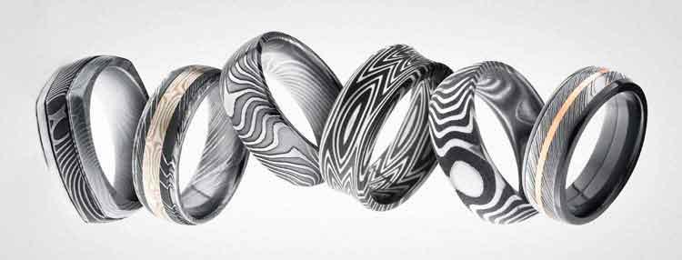 Damascus Steel wedding Rings