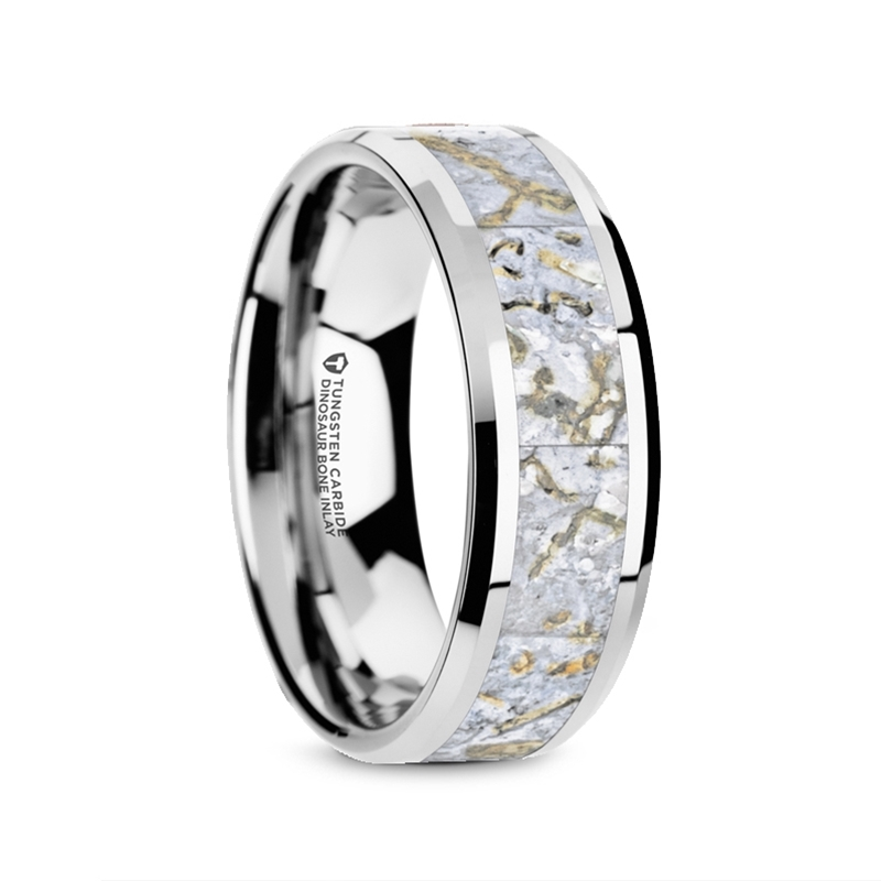 White Dinosaur Bone Wedding Ring