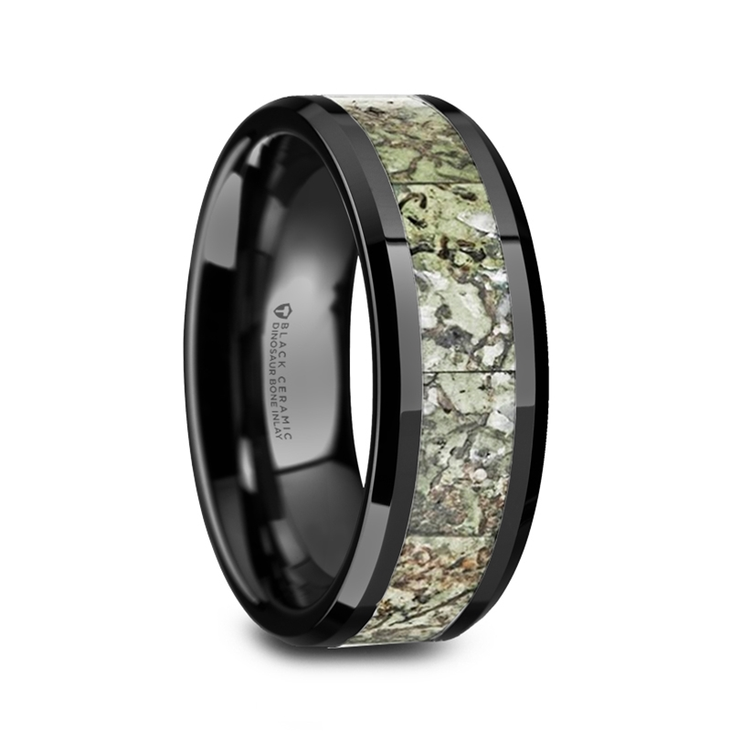 DROGON Light Green Dinosaur Bone Inlaid Black Ceramic Wedding Band