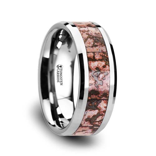 Pink Dinosaur Bone Wedding Ring