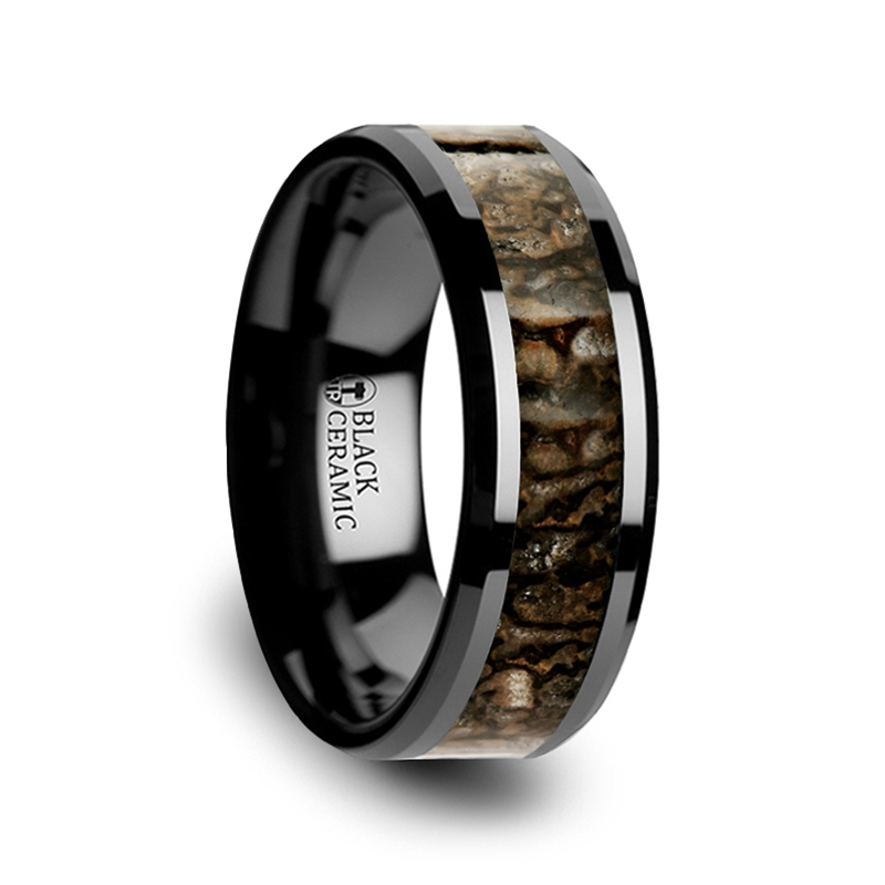 SILURIAN Dinosaur Bone Inlaid Black Ceramic Wedding Ring