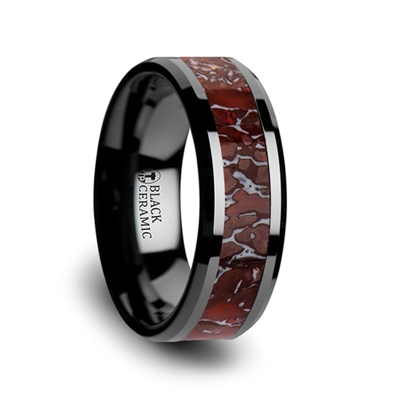 TRIASSIC Red Dinosaur Bone Inlaid Black Ceramic Ring