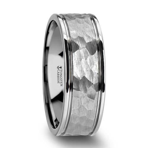 Thorsten Hammered White Tungsten Wedding Ring
