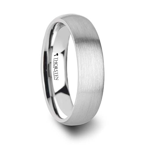 Pythius Round Brushed White Tungsten Wedding Ring