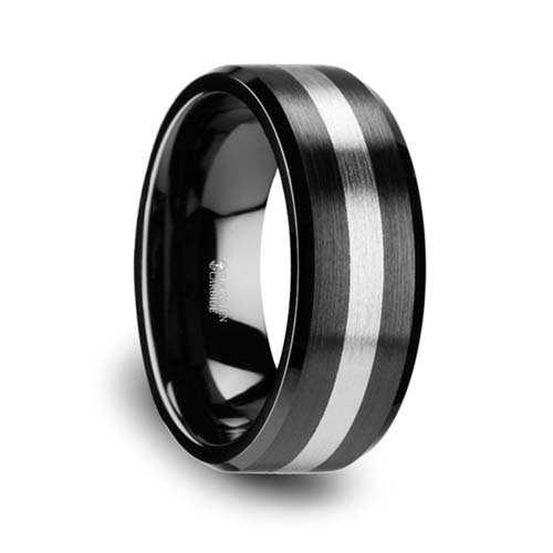 Phoenix Brushed Black Ceramic with Tungsten Inlay Wedding Ring