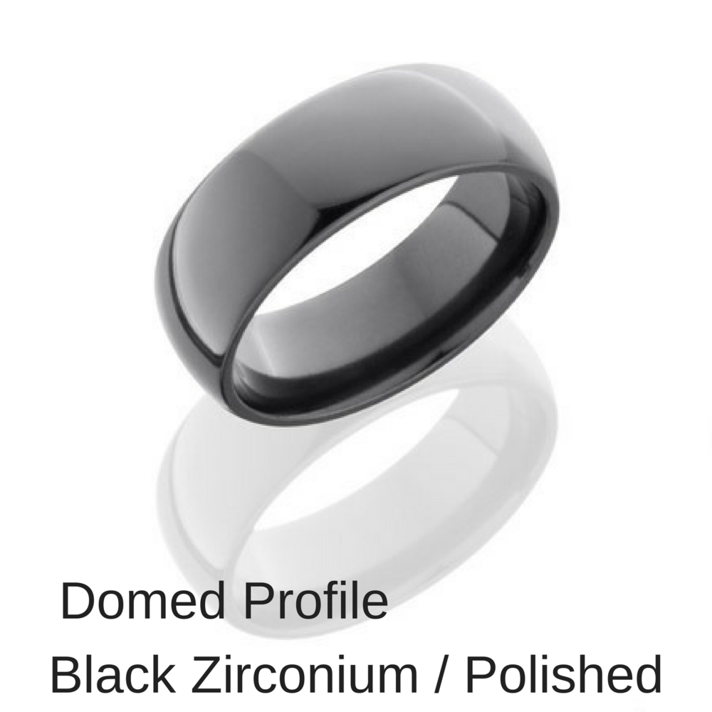 Domed Black Zirconium Wedding Ring