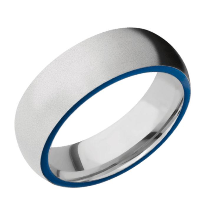 Side Blue & Bead Finish Cobalt Chrome Thin Blue Line Wedding Ring