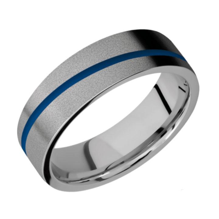 Blue & Bead Finish Titanium Thin Blue Line Wedding Ring