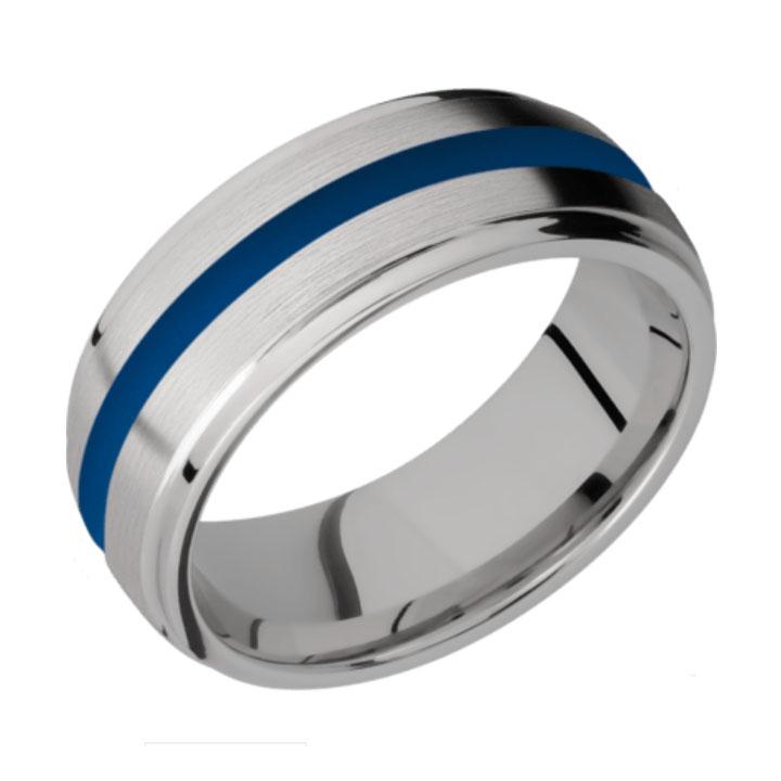 Blue & Satin/Polished Finish Titanium Thin Blue Line Wedding Ring