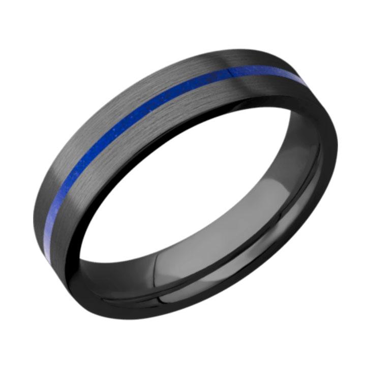 Lapis & Satin Finish Thin Blue Line Black Zirconium Wedding Ring