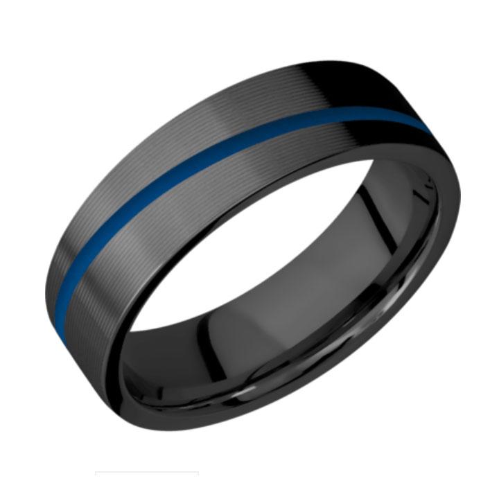 Blue & Micro Grooved Finish Black Zirconium Thin Blue Line Wedding Ring