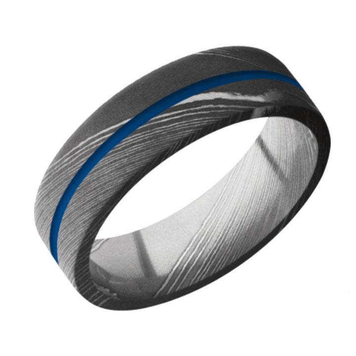 Blue & Acid Finish Damascus Steel Thin Blue Line Wedding Ring
