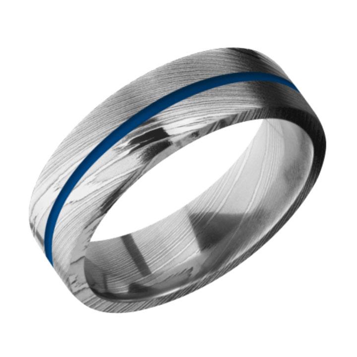 Blue & Polished Finish Damascus Steel Thin Blue Line Wedding Ring