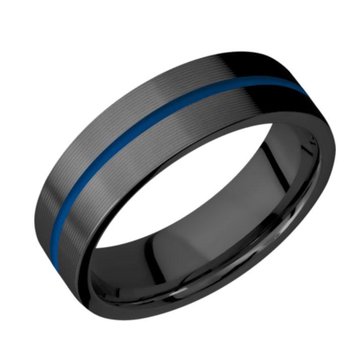 Blue & Machine Finish Thin Blue Line Black Zirconium Wedding Ring