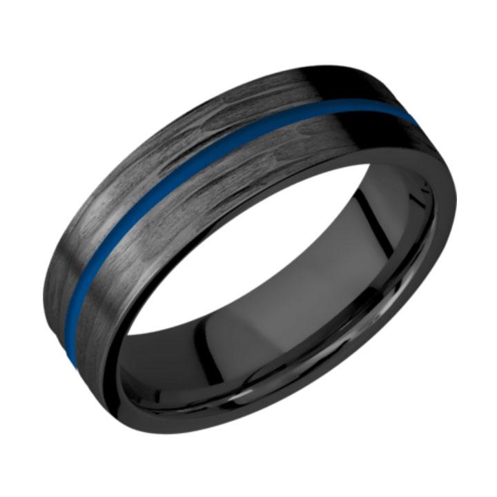 Blue & Tree Bark Finish Thin Blue Line Black Zirconium Wedding Ring