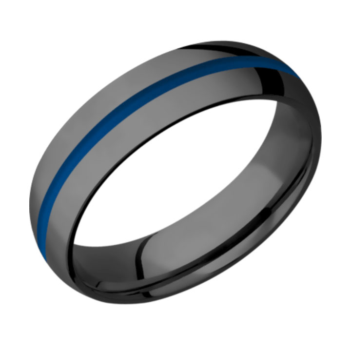 Blue & Polished Finish Domed Thin Blue Line Wedding Ring