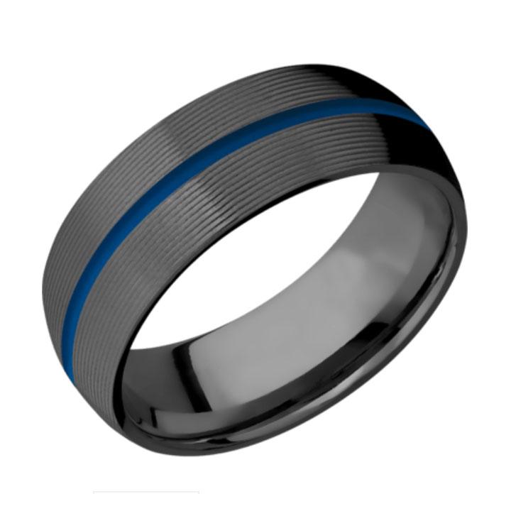 Blue & Machine Finish Domed Thin Blue Line Wedding Ring