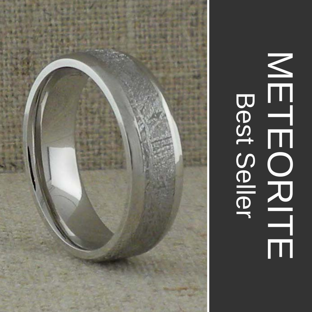 5 mm Meteorite and Cobalt Chrome Wedding Ring