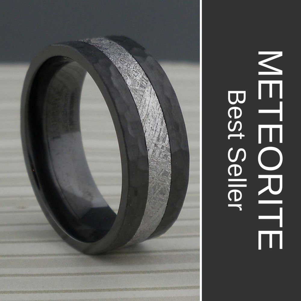 Black Zirconium Wedding Ring with Meteorite with Hammered Edges