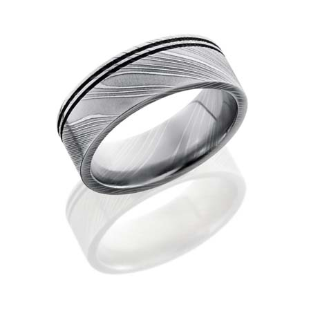Damascus Steel Wedding Ring With Two Off Center Grooves Unique