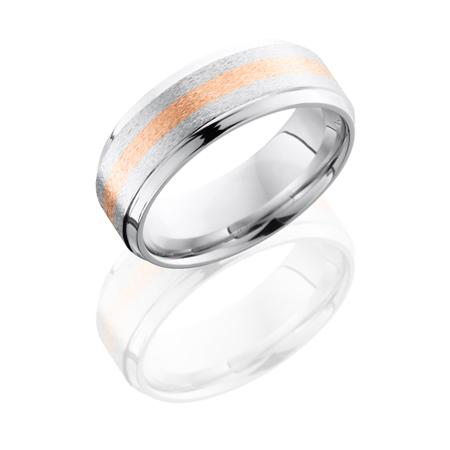 Cobalt Chrome and 14K Rose Gold Wedding Ring